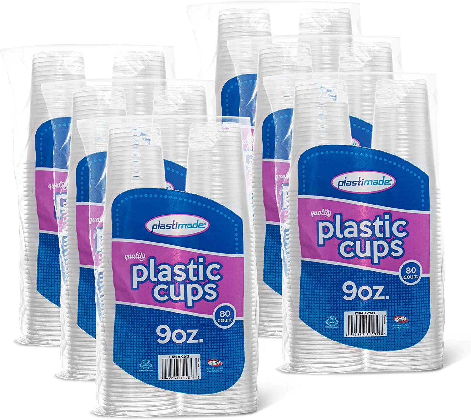[480 Count] PlastiMade 9 Oz Clear Plastic Disposable Reusable Drinking Cups For Home, Office, Wedding, Events, Parties, Take Out, Water, Juice, Soda, Beer Cocktails (6 Packs)