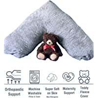 Iyan Linens Ltd Teddy Bear V Shaped Pillow Supersoft Fleece Hollow Fibre Filling Orthopaedic Nursing Soft Pregnancy /& Back Support V Pillow Only