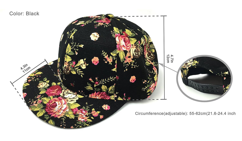 2da578b387dbe Amazon.com  Glamorstar Women s Floral Flower Snapback Hip-Hop Cap Baseball  Hat Headwear Black  Clothing