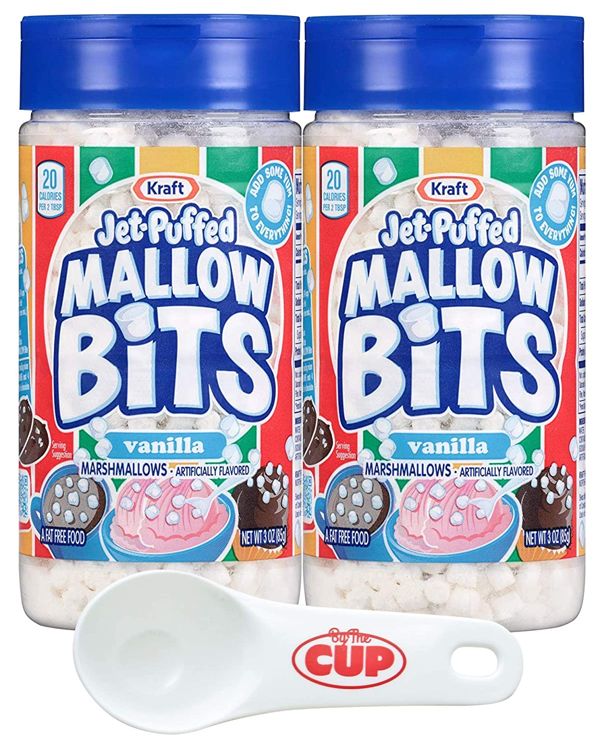 Kraft Jet-Puffed Mallow Bits Vanilla Flavor Marshmallows, 3 Ounce (Pack of 2) with By The Cup Portion Control Scoop