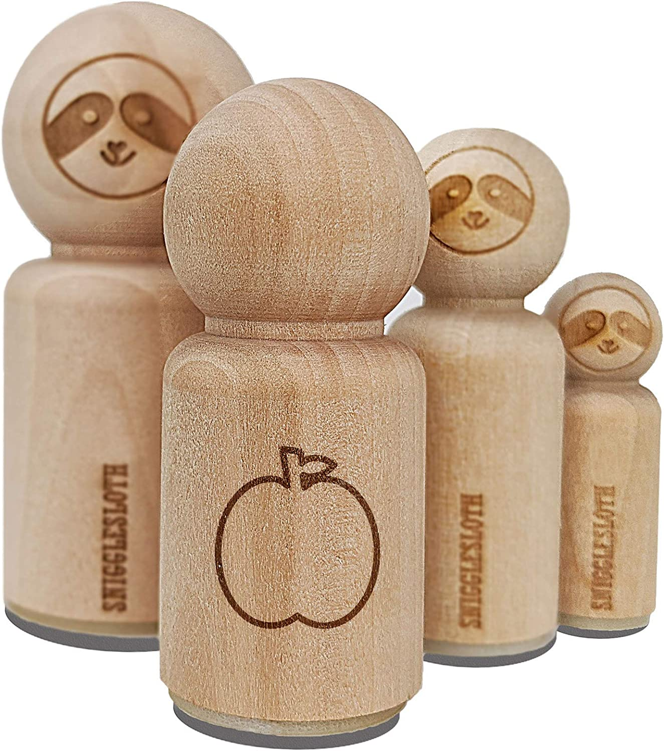 Apple Fruit Outline Rubber Stamp for Stamping Crafting Planners - 3/4 Inch Small