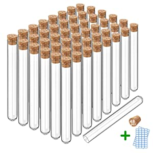 WERTYCITY 48 Pack-7ml Glass Test Tubes 12 x 100mm with Cork Stoppers and Name Labels for Scientific Tests, Party Decorations, Candy Storage, Bath Salt,Cultivated Plants