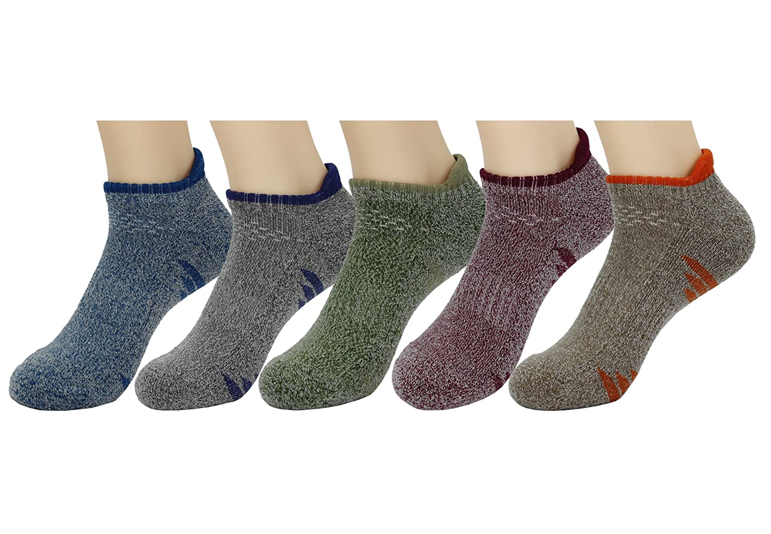 Waymoda 5 Pairs Unisex Low Cut Ankle Crew Socks, Outdoor Running Hiking Walking Trekking Trainer Sports Sneaker Sox, 5 Color/Set, Quick Drying Polyester, Men/Women/Boys/Girls UK 3-12/EUR 36-45