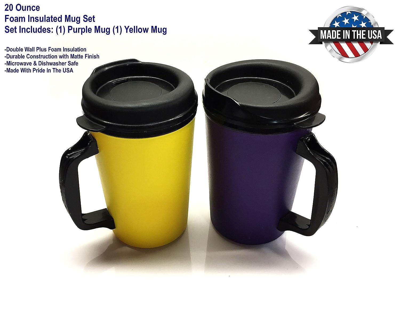 Amazon aladdin coffee mugs - Amazon Com 20 Oz Thermoserv Foam Insulated Coffee Mug Purple Yellow Two Pack Coffee Cups Mugs