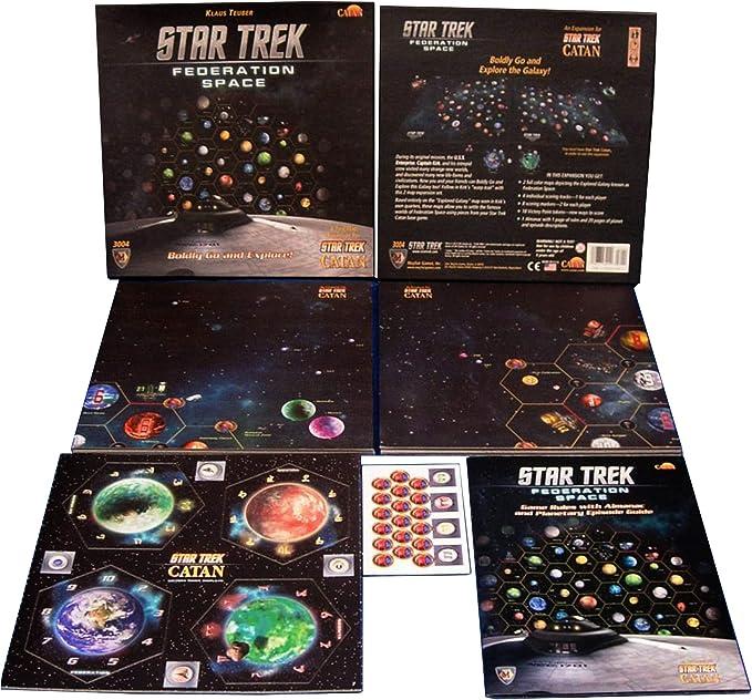 Star Trek Catan + Star Trek Federation Space, una expansión de dos mapas para Star Trek Catan Bundle | Incluye práctica bolsa de almacenamiento con cordón con el logotipo de los jugadores