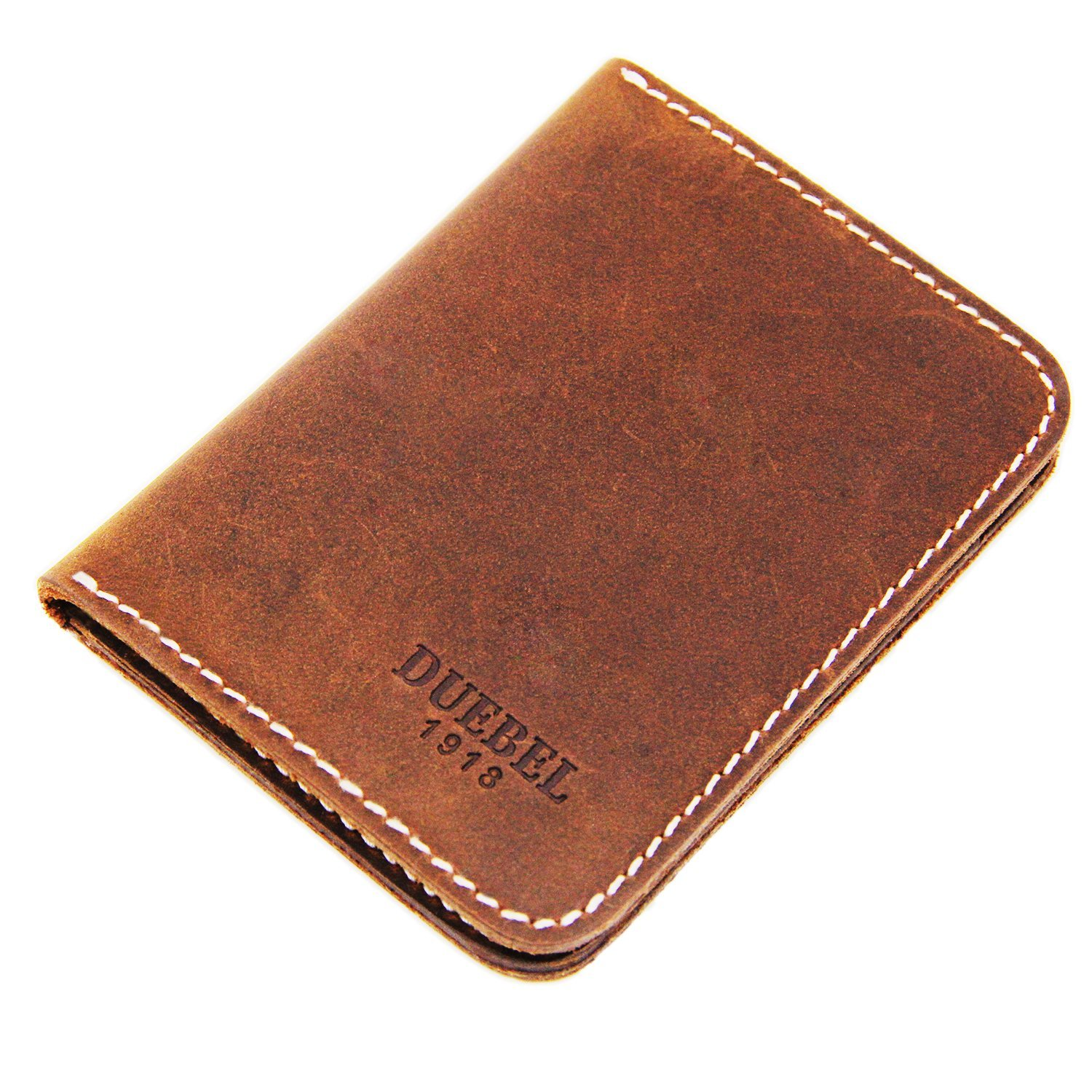 DUEBEL Bi Fold Slim Top Genuine Leather Thin Minimalist Front Pocket Wallets for Men, Made From Full Grain