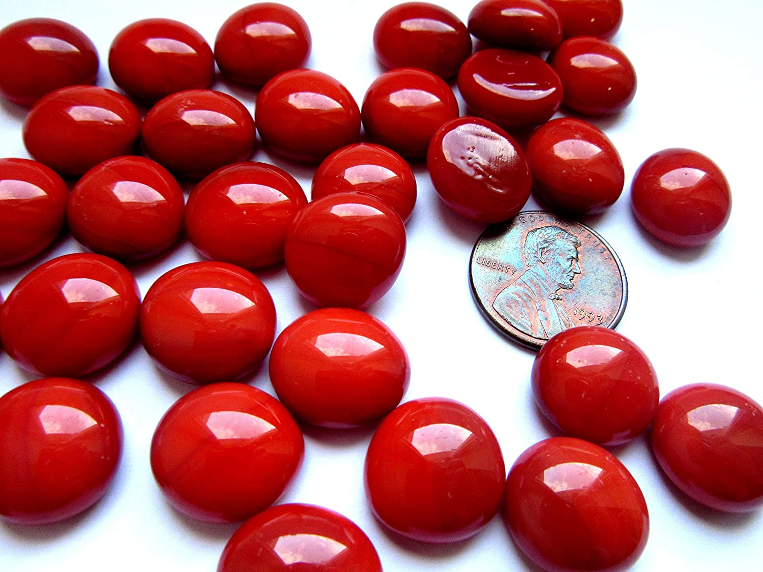50 Mini Bright Red Glass Gems, 11-14 mm Flat Back Glass Marbles,Vase Fillers, Mosaic Tiles, Small