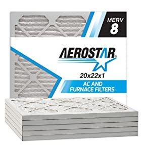 Aerostar 20x22x1 MERV 8 Pleated Air Filter, Made in the USA, 6-Pack
