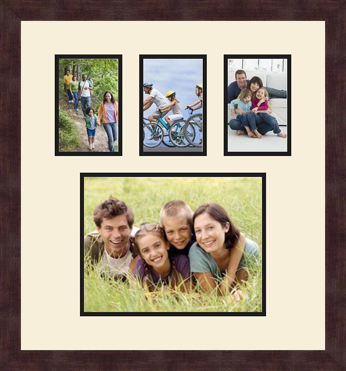 Art to Frames Double-Multimat-1108-817//89-FRBW26061 Collage Frame Photo Mat Double Mat with 1-8.5x11 and 3-4x6 Openings and Espresso Frame