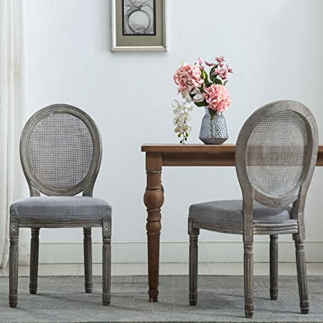 Strange French Dining Chairs Distressed Elegant Tufted Kitchen Chairs With Round Fine Rattan Back Set Of 2 Gray Gmtry Best Dining Table And Chair Ideas Images Gmtryco