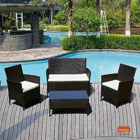4 PC Patio Rattan Wicker Chair Sofa Table Set Outdoor Garden Furniture Cushioned