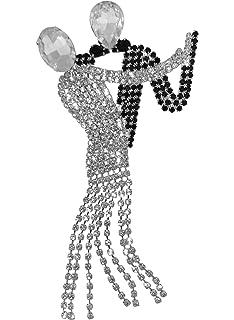 EVER FAITH Austrian Crystal CZ Wedding Romantic Ballroom Dancing Couple Brooch Gold-Tone
