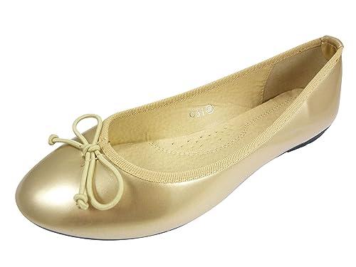 Bailarinas acharoladas de lazo zapatillas para mujer, casual de punta redonda, Dorado (Doré), 37: Amazon.es: Zapatos y complementos