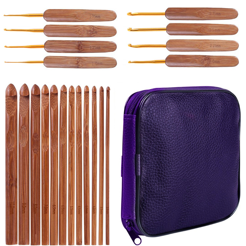 1 Set(20 pcs) Bamboo Crochet Beginner Set, Lightweight, Ergonomic, Eco-Friendly, Size C to N, Gold-Plated Aluminum Hook Sizes 1.0-10.0MM
