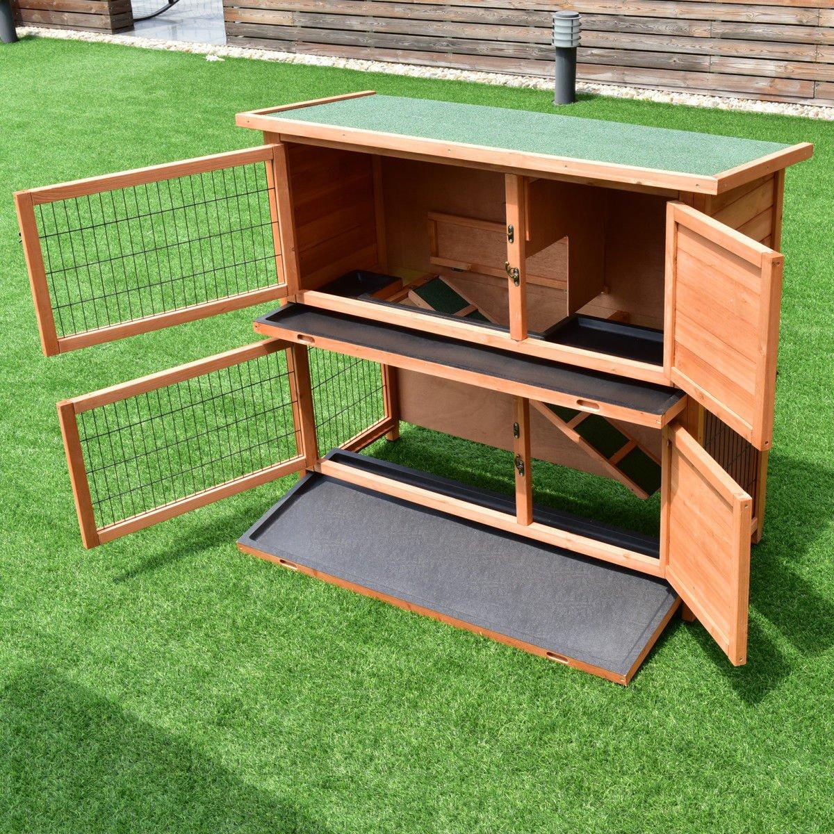 Tangkula Chicken Coop 48'' Rabbit Hutch Wooden Garden Backyard Bunny Hen House Pet Supplies with Ladder by Tangkula (Image #2)