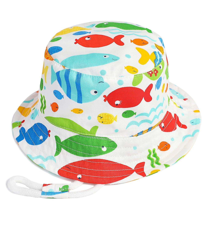 Alleza Junge Sonnenhut Strandhut Kinderhut Sommer M/ützen Babys Baumwolle Cartoon Muster UV-Schutz Fischerhut M/ädchen Hut Sommerhut