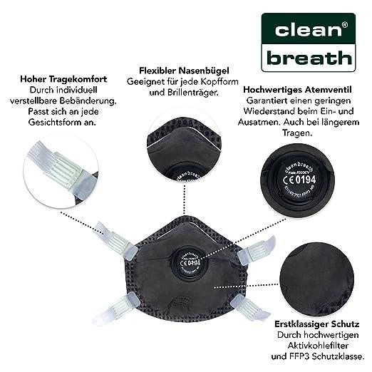 Wunderbar Atemschutz Maske FFP3 Mit Aktivkohle Filter (10 Stk.) In Absoluter  Premium Qualität | Exzellenter Atemschutz Bei Optimalem Sitz | Einweg  Feinstaub Masken ...