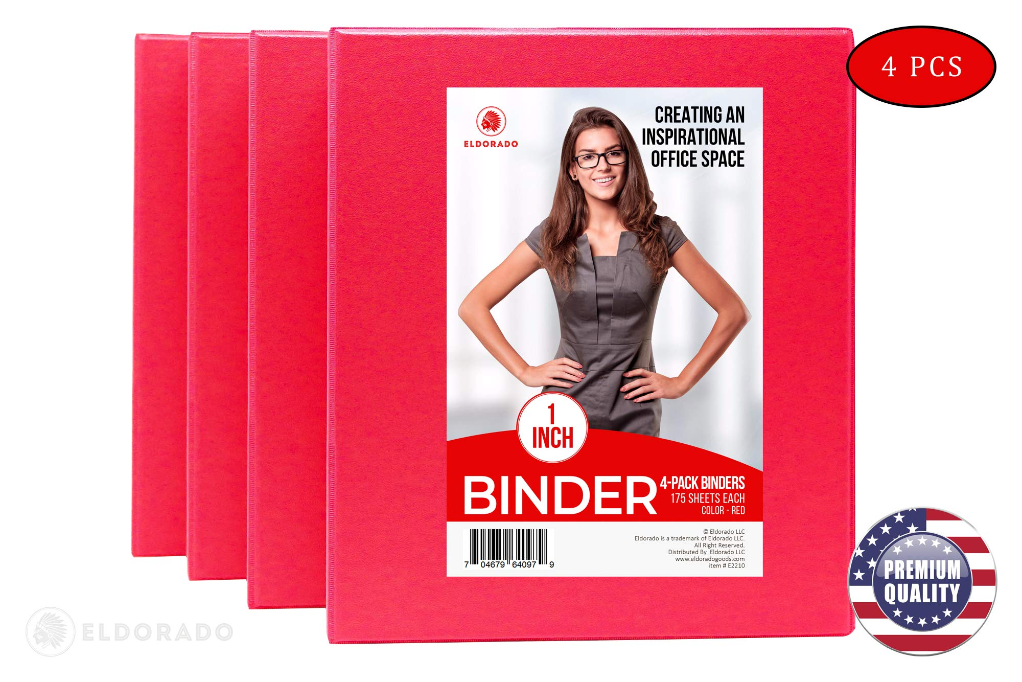 Eldorado Binder - 3 Rings 1 inch in Diameter, for Office, Home, College, Student, Work, Presentation, Project, and Report Use (Red) by Eldorado Goods (Image #2)