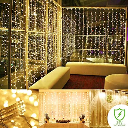 Bon ADDLON String Lights Curtain, 300 LED Icicle Wall Lights, Fairy Indoor  Starry Lights 8