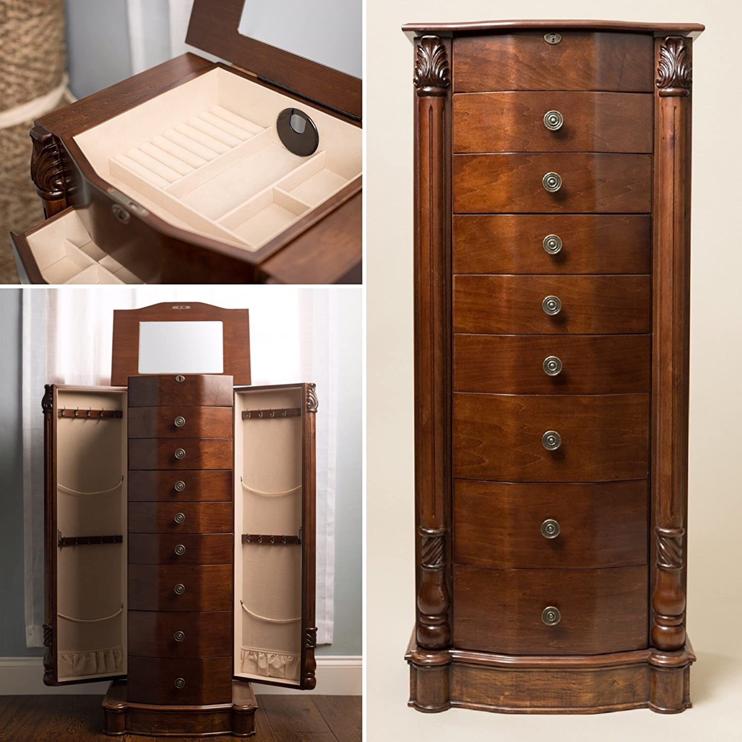 Amazon.com Hives and Honey Henry IV Walnut Jewelry Armoire Kitchen u0026 Dining : tall jewelry cabinet - Cheerinfomania.Com