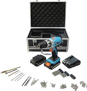 Workmen WMPRT142LI-MC1H - Estuche de taladro percutor recargable con 77 accesorios: Amazon.es: Bricolaje y herramientas