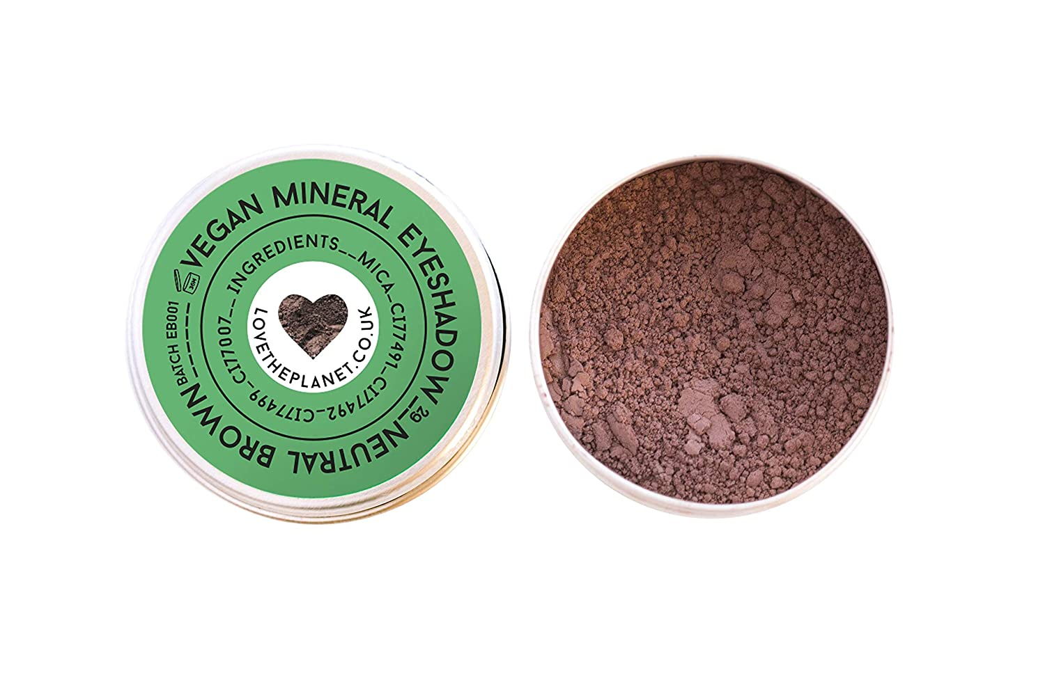 Love the Planet Vegan Mineral Eyeshadow Shade Neutral Brown in Refillable Tin