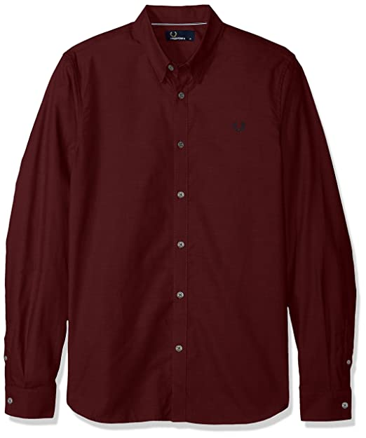 best website 9db14 a4486 FRED PERRY uomo camicia manica lunga M3523 799 L Bordeaux ...