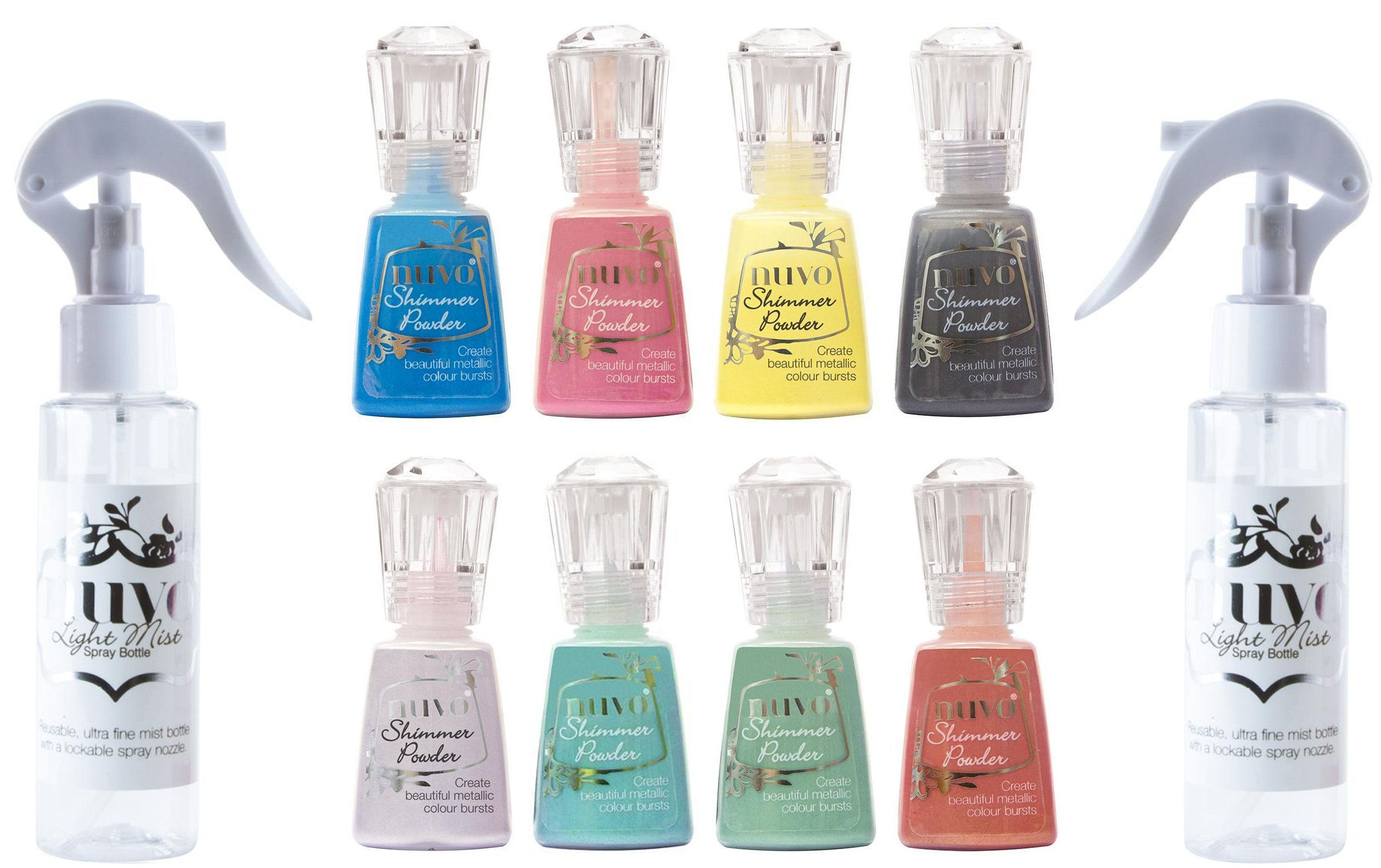 Tonic Studios Nuvo Shimmer Powder Block and Multi-Colors 2018 Complete Set with Light Mist Spray Bottles - 10 Item Bundle