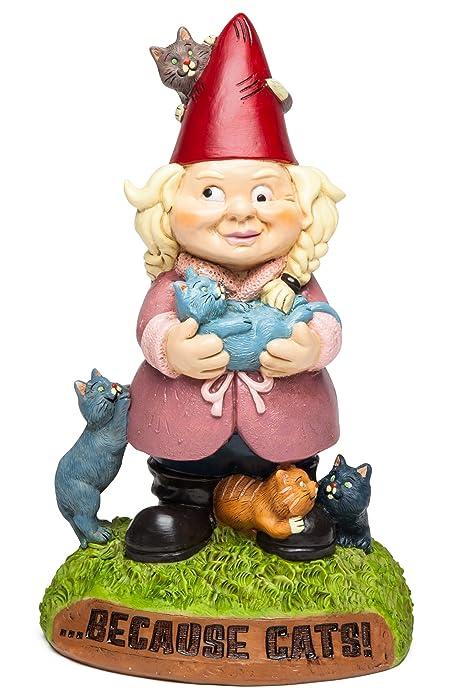 BigMouth Inc Gnome, Funny Lawn Gnome Statue, Garden Decoration (Cat Lady)