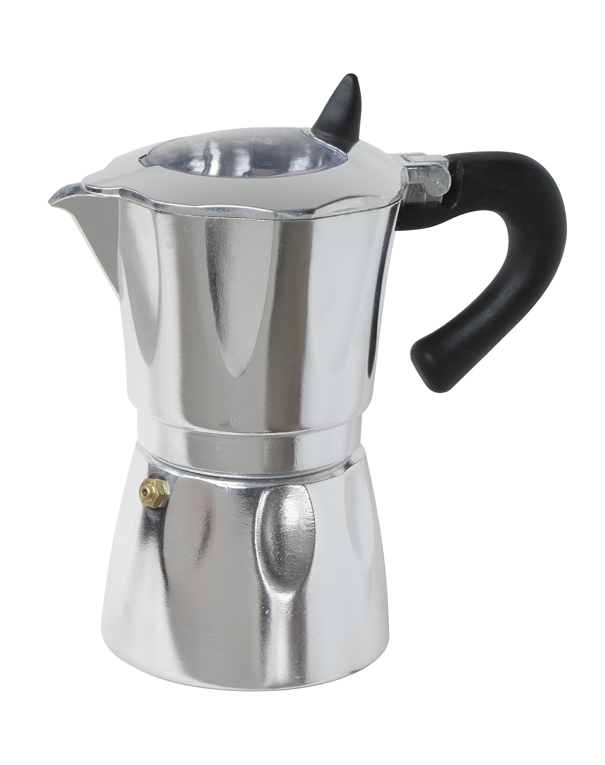 Cuisinox COF-WD3 Vista espresso Coffee Maker, 3 Cup, Silver; Black; Clear