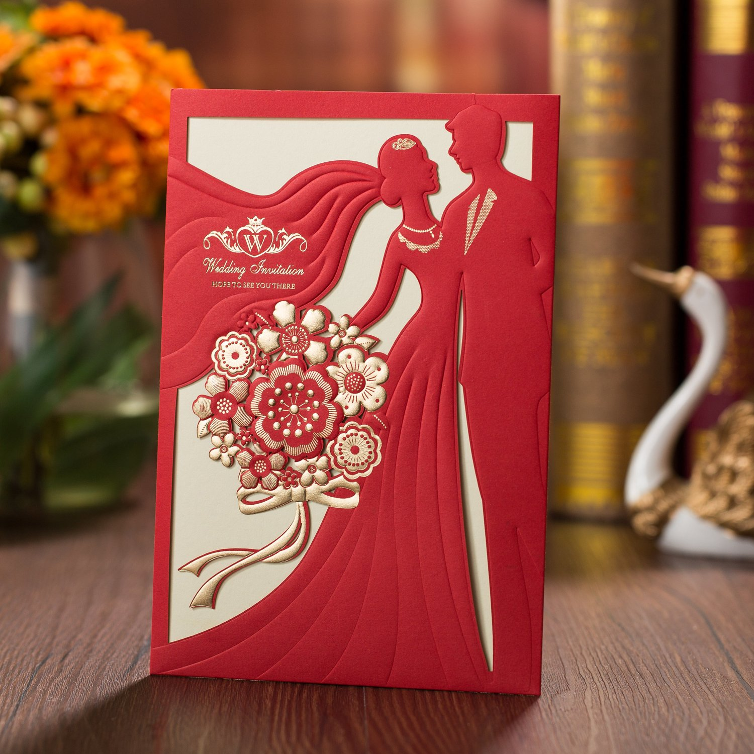 Amazon.com: 50PCS Laser Cut Bronzing Wedding Invitation Cards Hollow ...