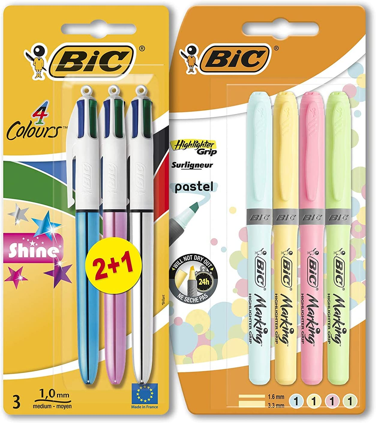 BIC Shine Pack - 4 Marcadores Highlighter Grip Pastel (Azul ...