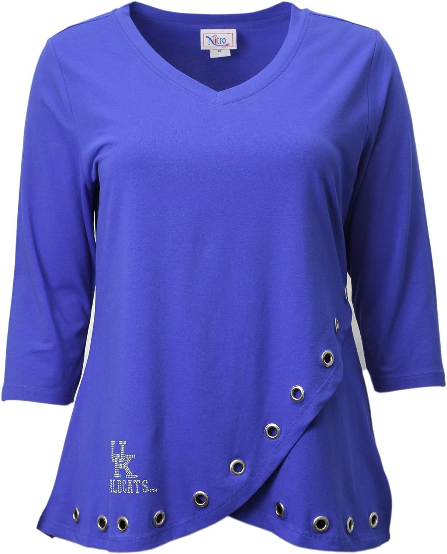 NCAAケンタッキーWildcatsレディースラインストーンUKファッションチューリップトップ ロイヤル XL