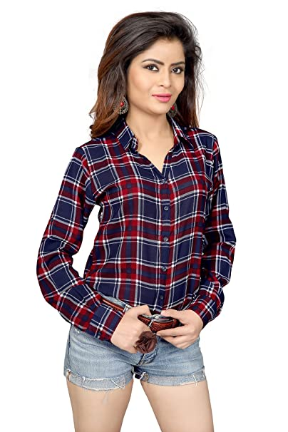 Trendif Women's Poly Modal Viscose Checkered Shirt Women's Blouses & Shirts at amazon