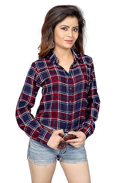 Trendif Women's Poly Modal Viscose Checkered Shirt Women's Blouses & Shirts at amazon