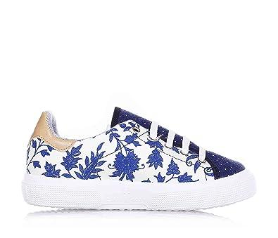 Monnalisa Weiß Blaue Schuhe Aus Leder und Stoff, Lustig und