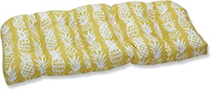 """Pillow Perfect Outdoor/Indoor Pineapple Tufted Loveseat Cushion, 44"""" x 19"""", Yellow"""
