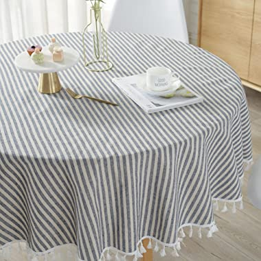 ColorBird Stripe Tassel Tablecloth Cotton Linen Dust-Proof Table Cover for Kitchen Dinning Tabletop Decoration (Round, 60 Inch, Blue)