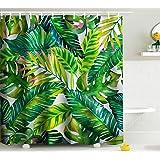 Tenda da doccia resistente alla muffa impermeabile tenda doccia set con ganci accessori bagno foglia stampa misura 167,6cm (W) x 182,9cm (H)