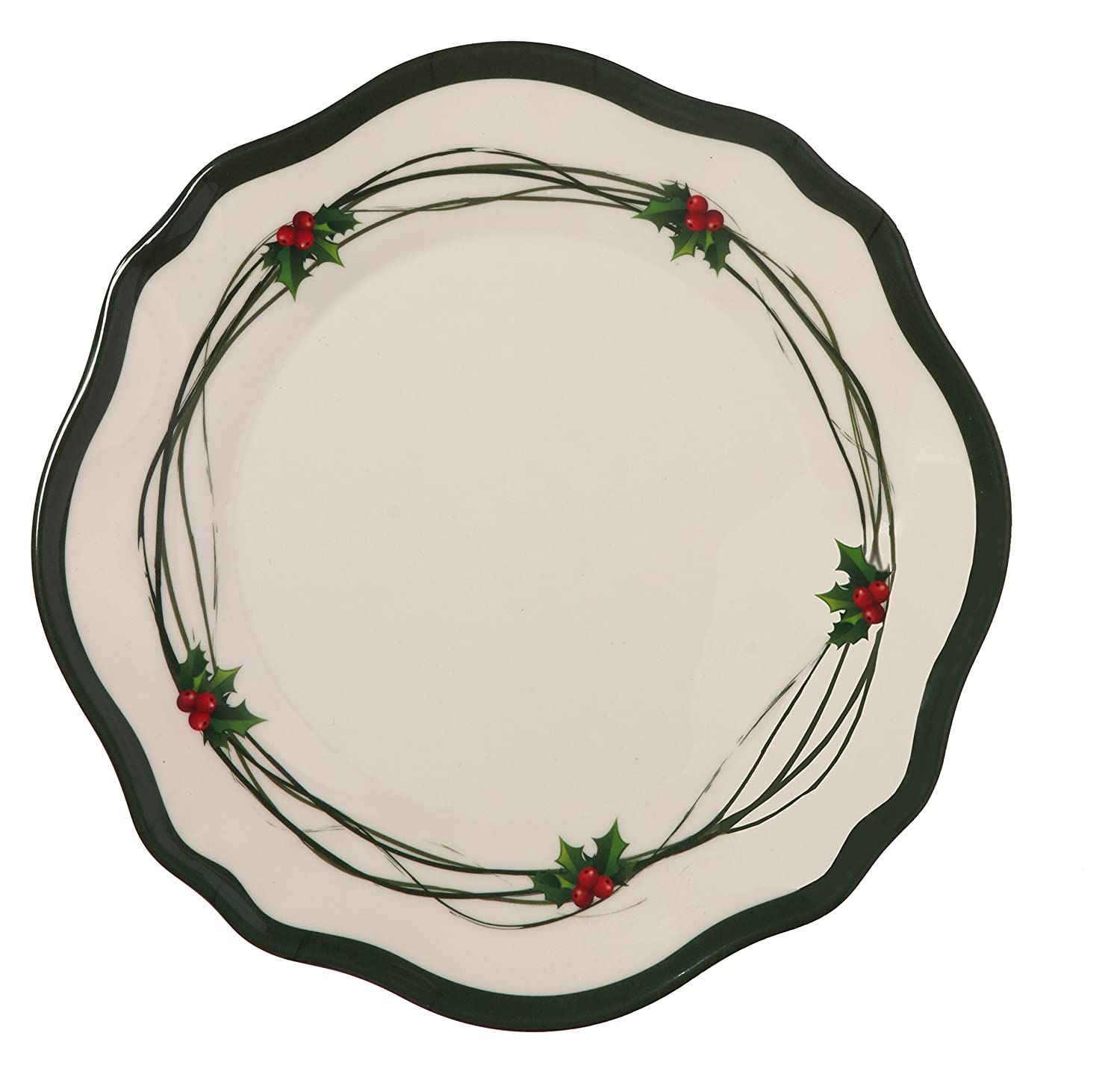 Melange 6-Piece 100% Melamine Salad Plate Set (Christmas Berry Collection ) | Shatter-Proof and Chip-Resistant Melamine Salad Plates Ruby Compass Melamine 612409791887