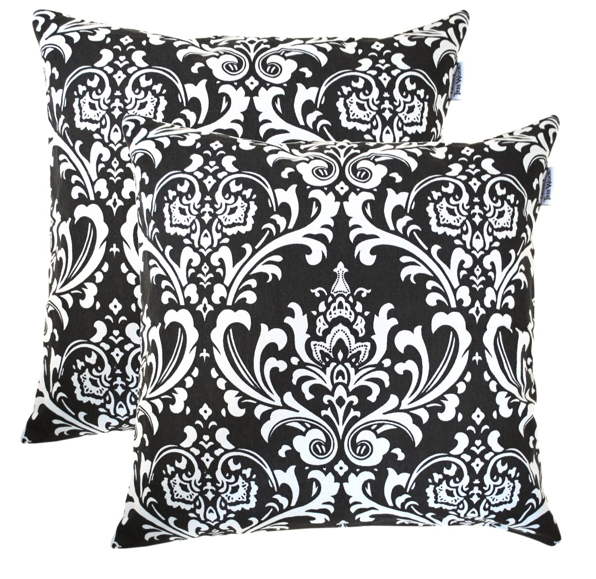 TreeWool, (Pack of 2) Cotton Canvas Damask Accent Decorative Throw Pillow Covers (20 x 20 Inches, Black & White)