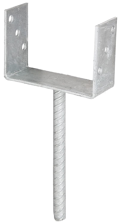 galvanis/é /à chaud 81 mm GAH-Alberts 214258 Support de poteau en U avec chevilles en b/éton en acier ondul/é largeur libre