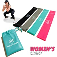 Beach Nook Resistance Loop Bands for Legs and Butt | Elastic Exercise Band Set for Women | Best Resistant Workout Loops for Booty, Glute, Leg & Thigh Exercising with Free Carrying Bag