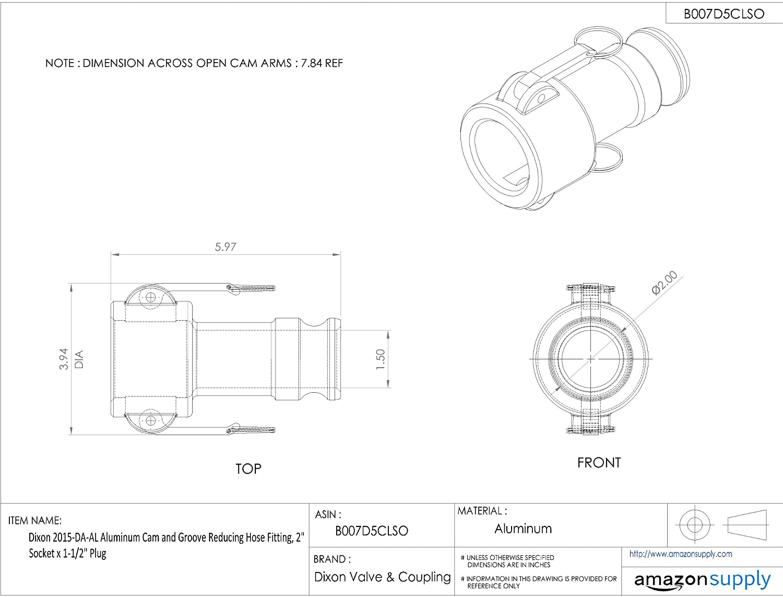 Dixon 1520-DA-AL Aluminum Cam and Groove Reducing Hose Fitting 1-1//2 Socket x 2 Plug