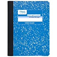 Mead Composition Book, Notebook, Wide Ruled, 9.75 x 7.5 Inch, Blue (72251)