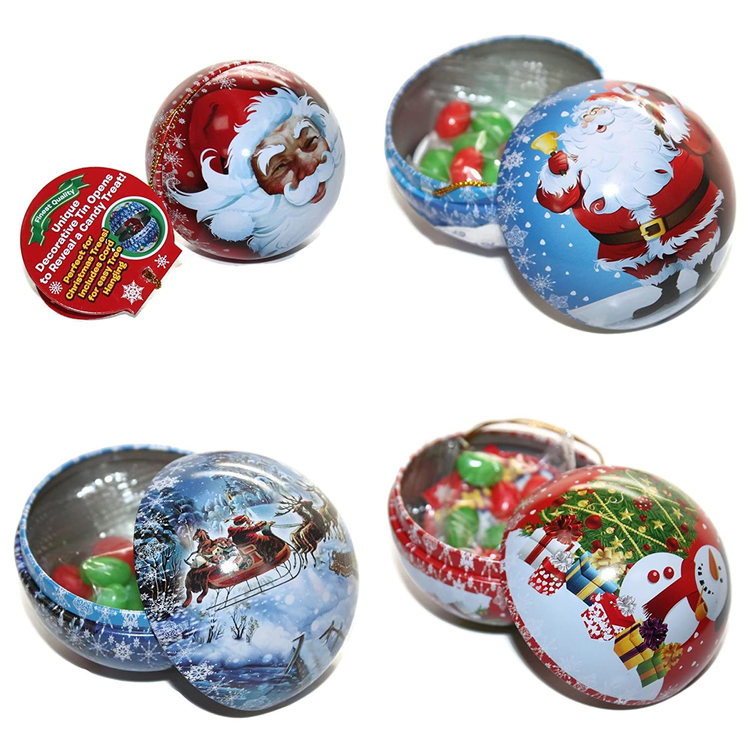4 x Personalised Christmas Baubles Filled With Sweets