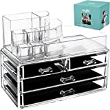 Acrylic Makeup jewelry cosmetic organizer - Set of 4 Extra Deep Drawers That Maneuver Smoothly With Separate Stackable lipstick & Nailpolish Holder Made With the Highest quality Strong Thick Acrylic