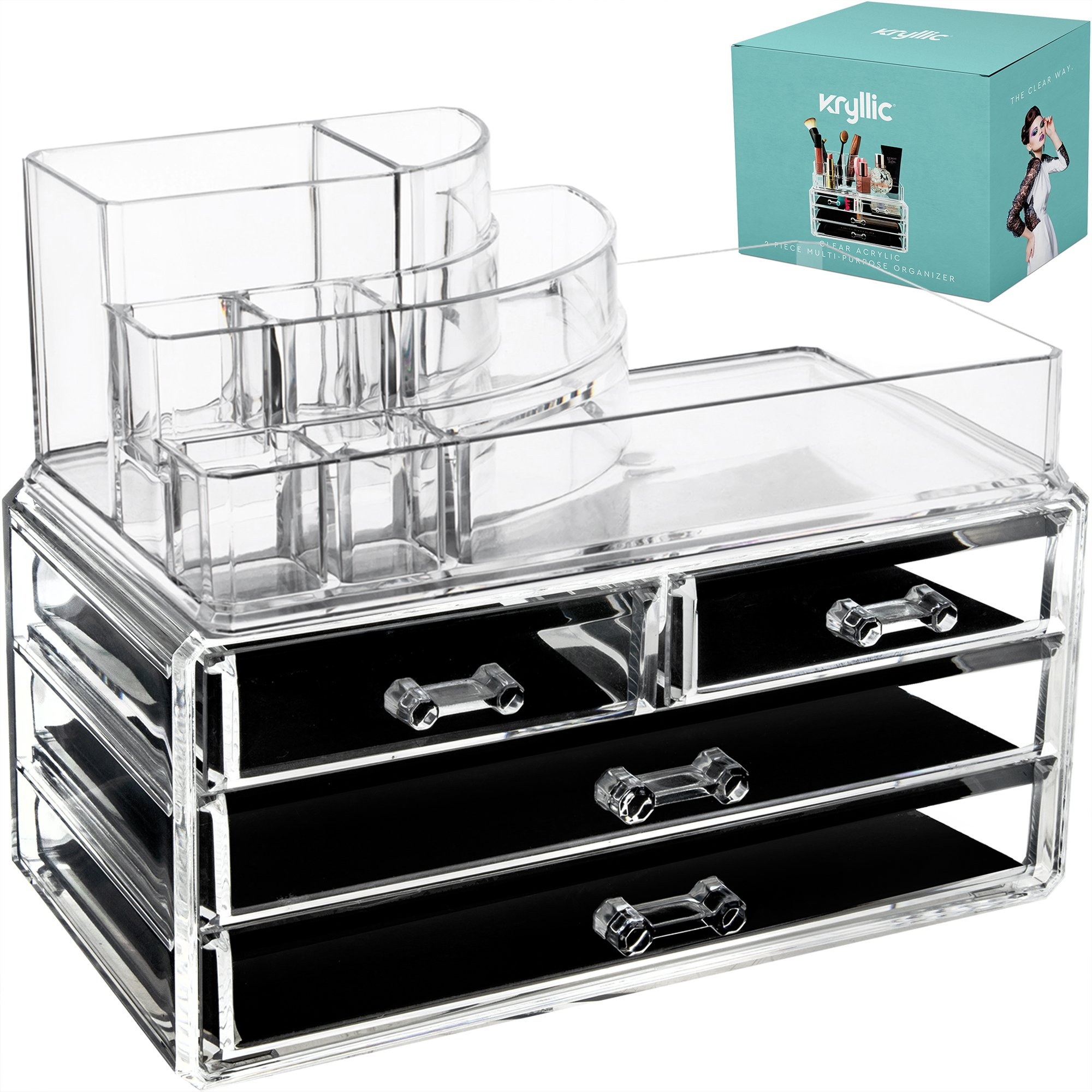 Makeup Cosmetic Storage Organizer Drawer - 4 box drawers with top multi-slot acrylic countertop vanity organizers! Brush lipstick holder excellent organization display for jewelry palettes cream pens
