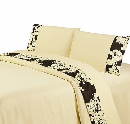 Amazon Com Hiend Accents Cowhide Western Sheet Set King Cream
