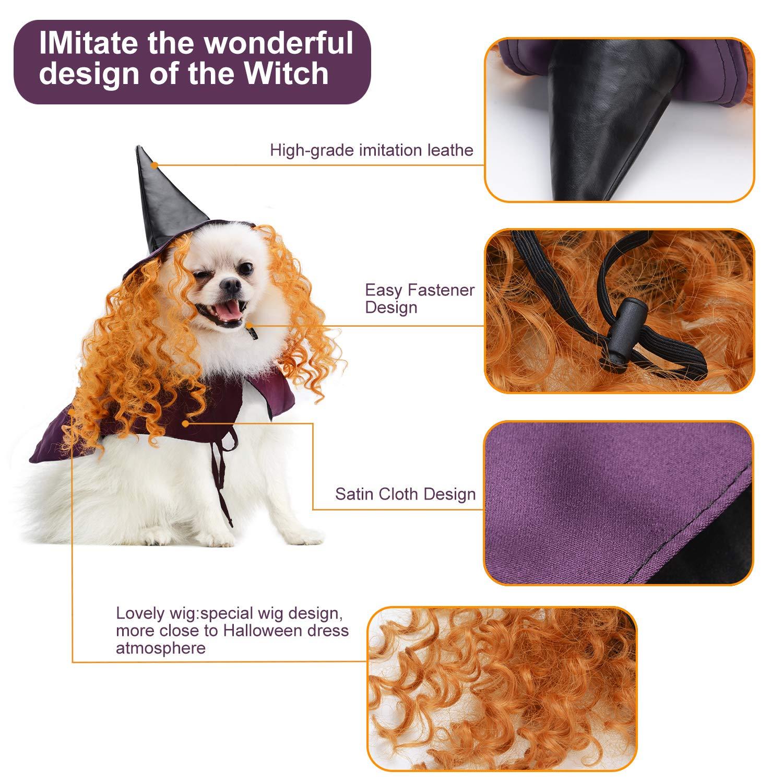 Legendog Halloween Costumes for Dogs, Dog Halloween Costumes, Funny Cat Dog Cape, Dog Wizard Cape and Dog Hat With Wig Pet Costume Set